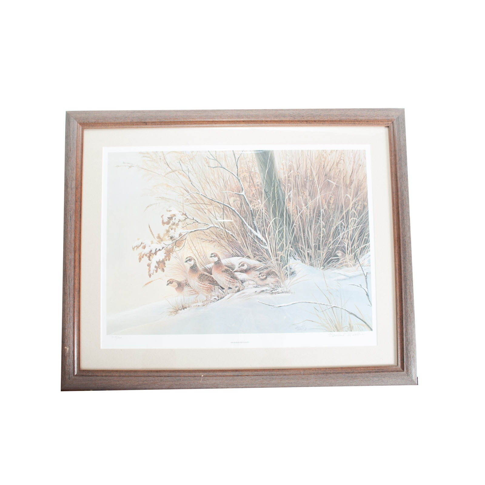 "Bernard Martin 1985 Limited Edition Offset Lithograph Print ""Snowbound Covey"""
