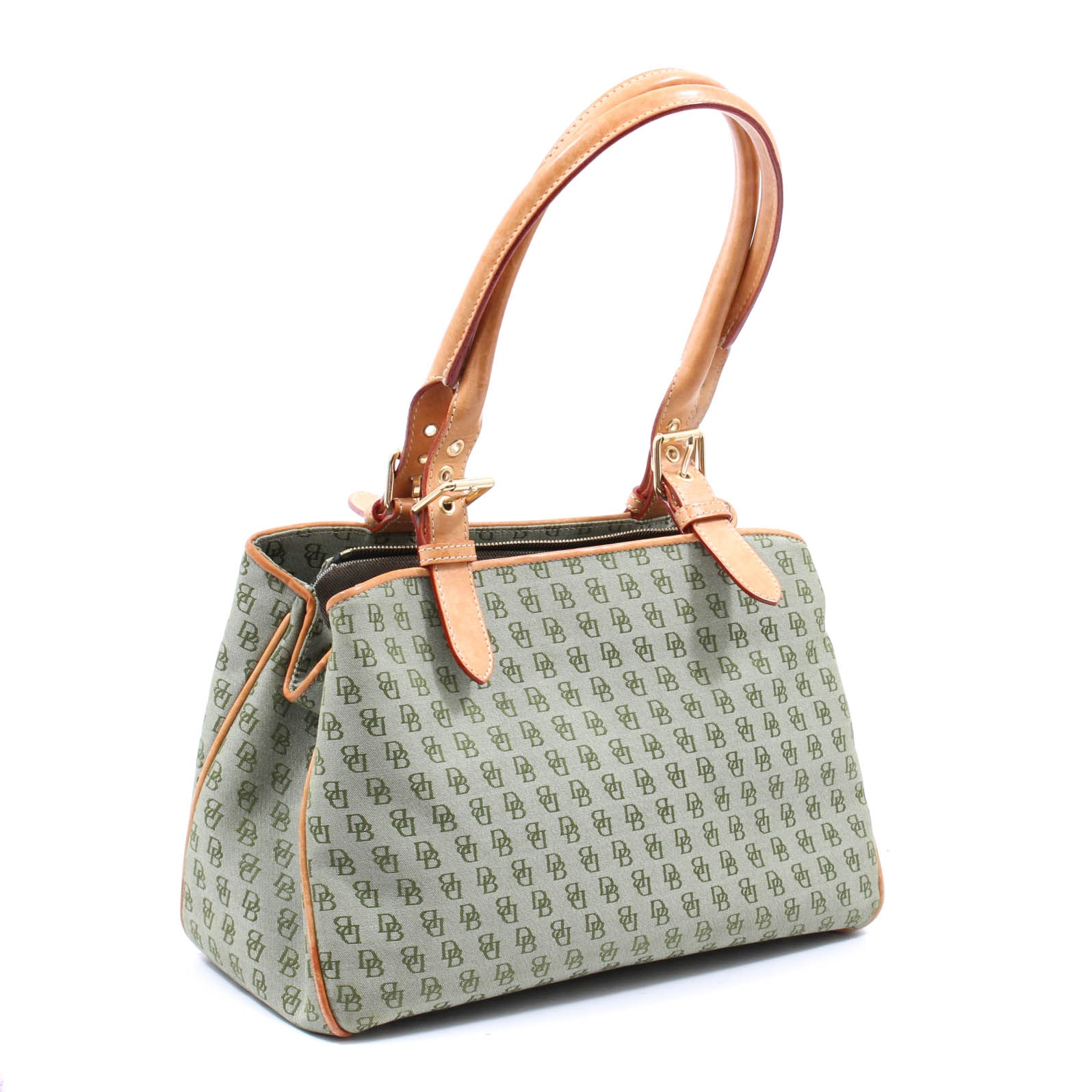 Dooney and Bourke DB Green Signature Canvas and Tan Leather Bag