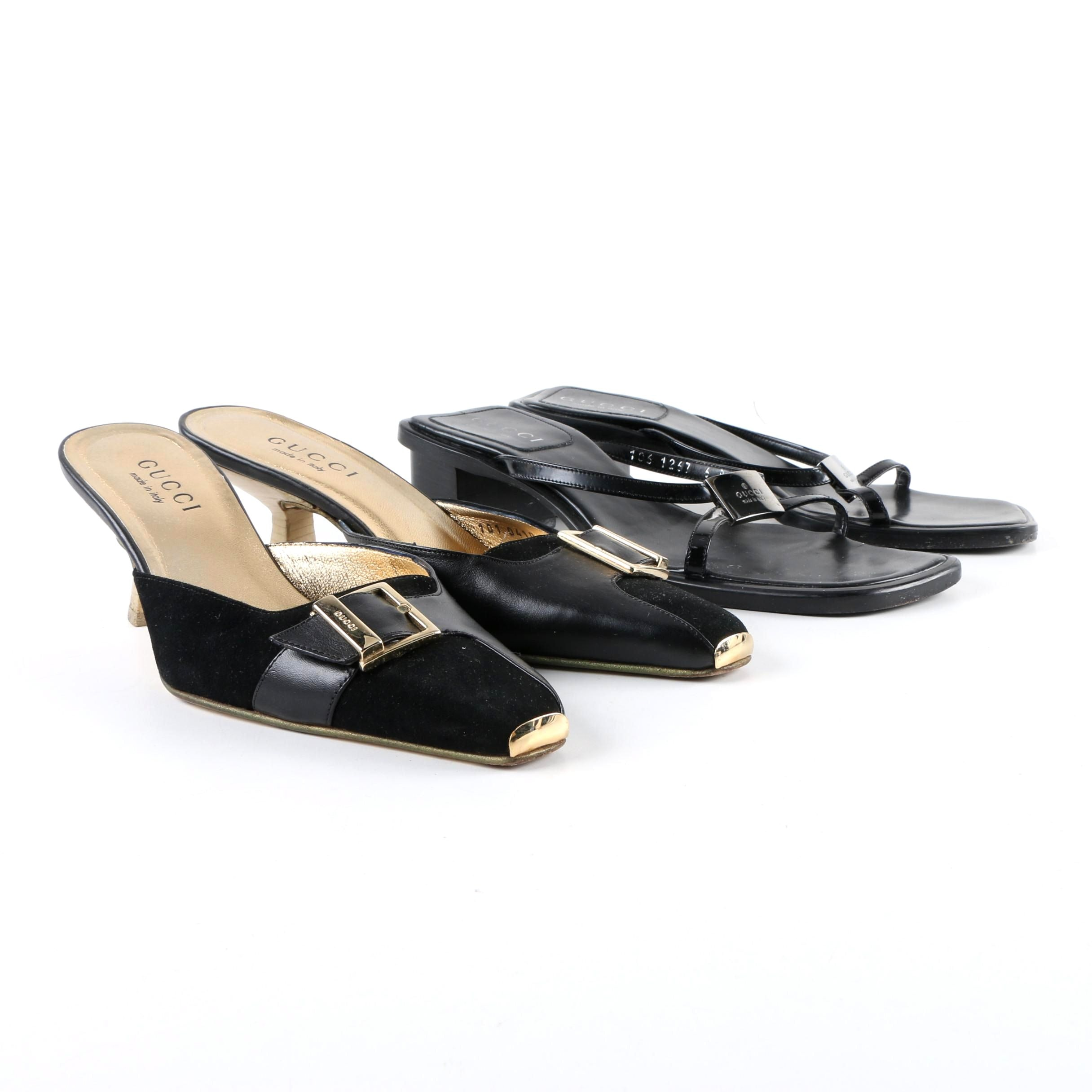 Women's Gucci Black Leather Kitten Heel Slides and Mules