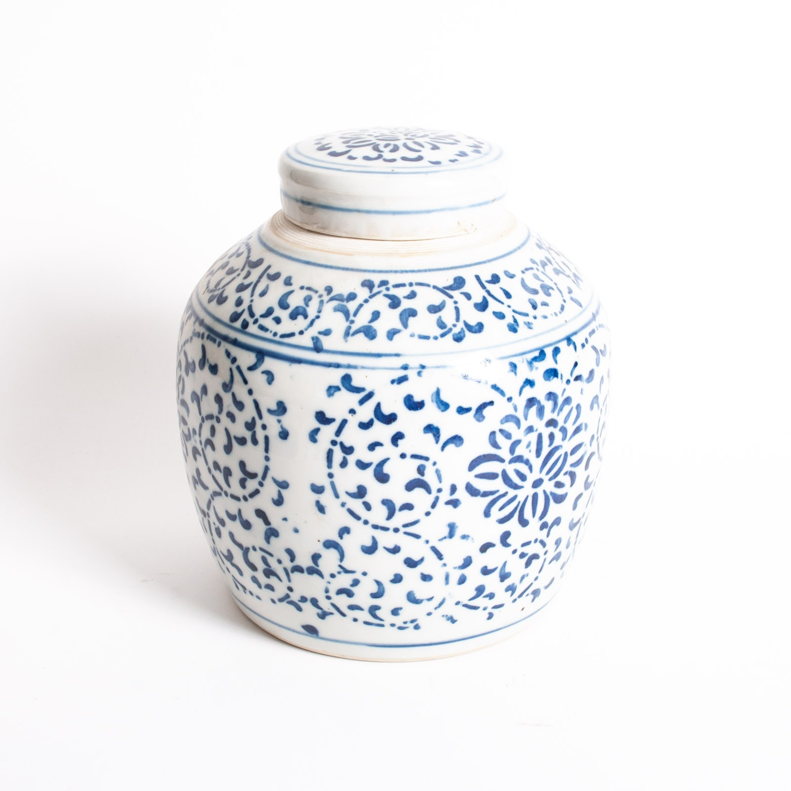 Chinese Blue on White Ginger Jar with Lid