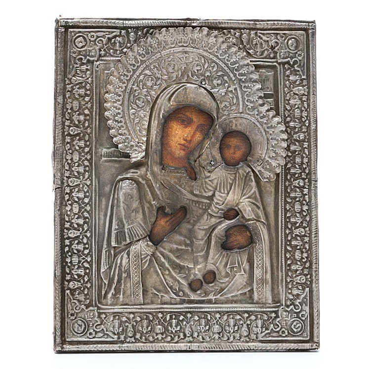 Early 20th Century Russian Icon with 800 Silver Embossed Oklad