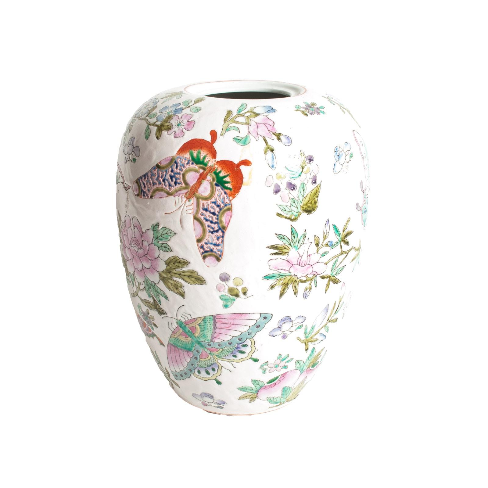 Vintage Chinese Export Porcelain Melon Jar