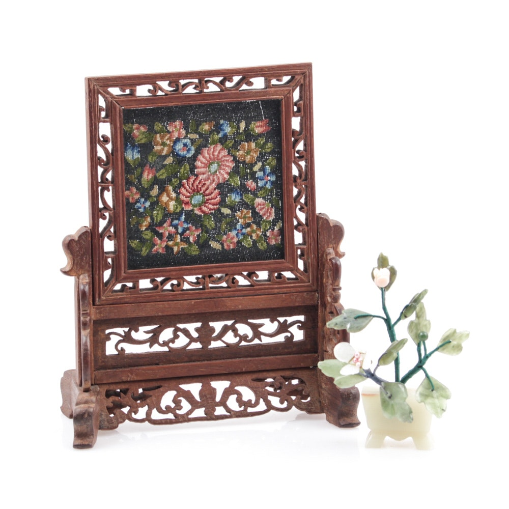 Chinese Table Screen with Needlepoint and Stone Sculpture