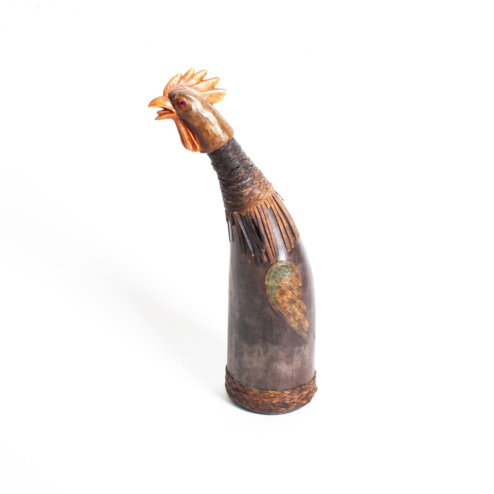 Vintage Italian Leather Covered Rooster Wine Bottle