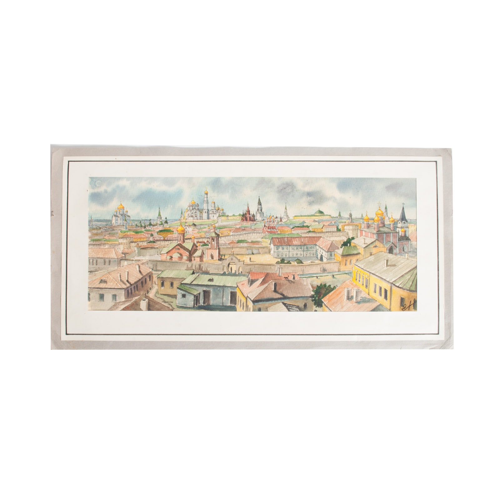 Original Watercolor Painting on Paper of St. Petersburg Cityscape