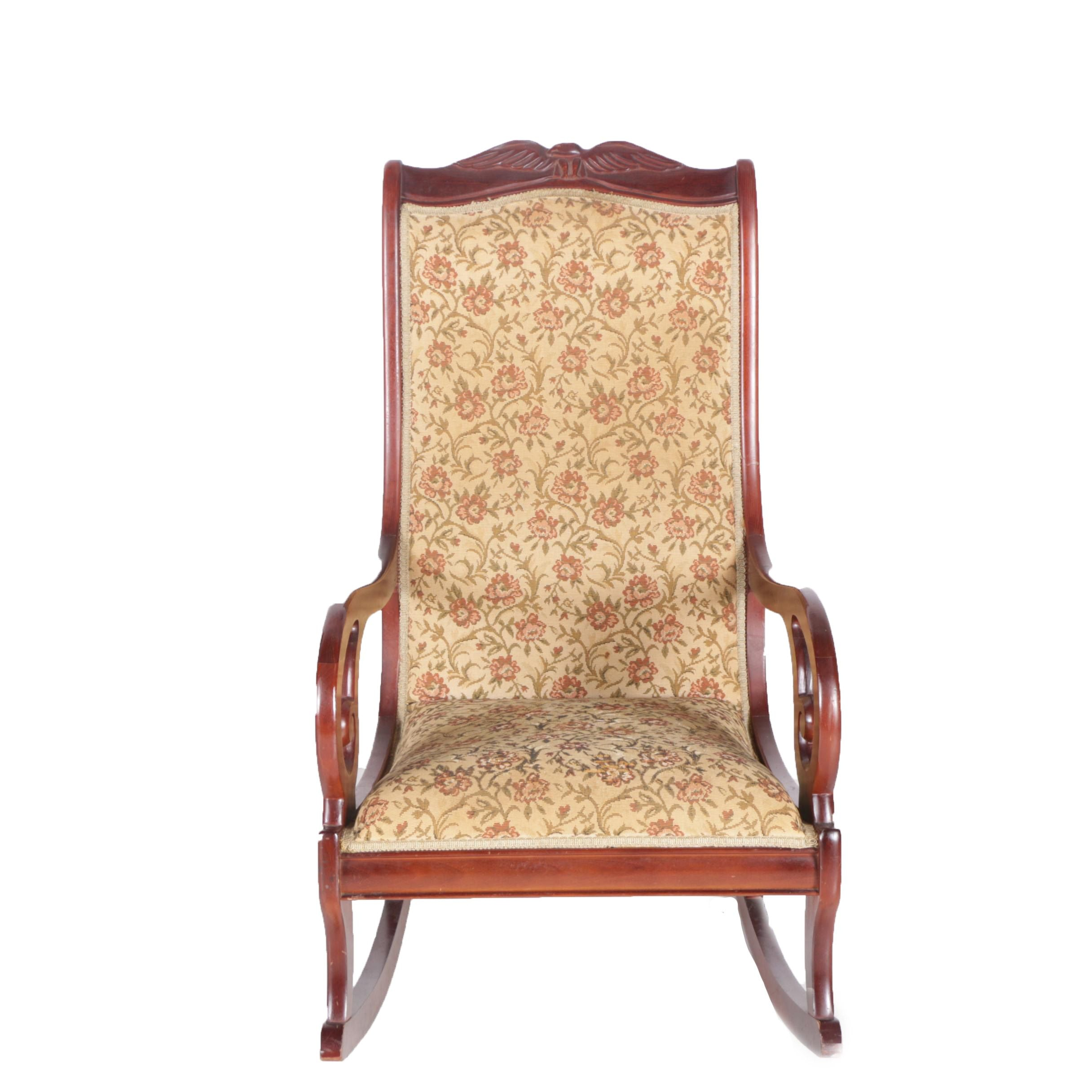 Vintage Regency Style Upholstered Rocking Chair by Statesville Chair Company