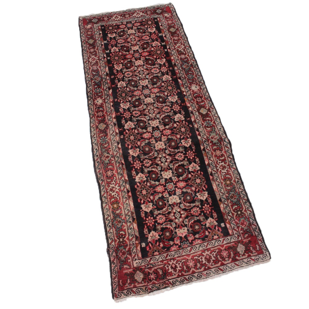 3'5 x 8'11 Hand-Knotted Persian Malayer Sarouk Rug Runner