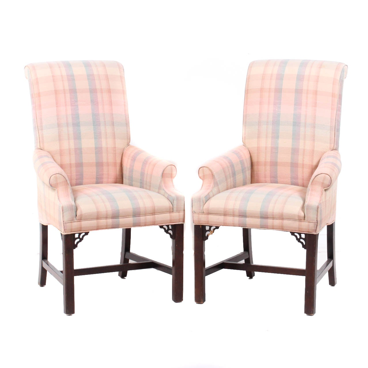 Upholstered Tall Back Arm Chairs