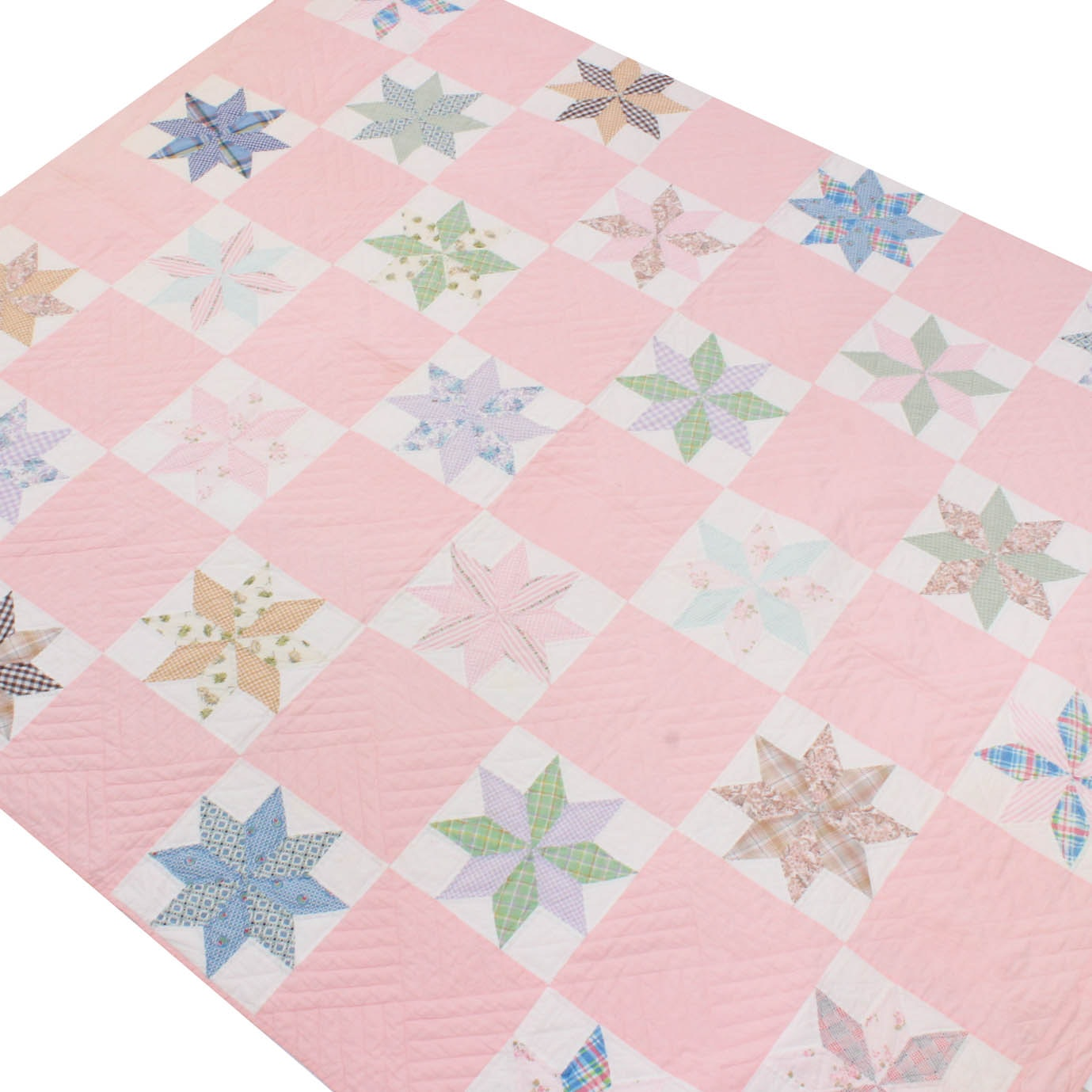 "Vintage Handmade ""Eight Point Star"" Quilt"