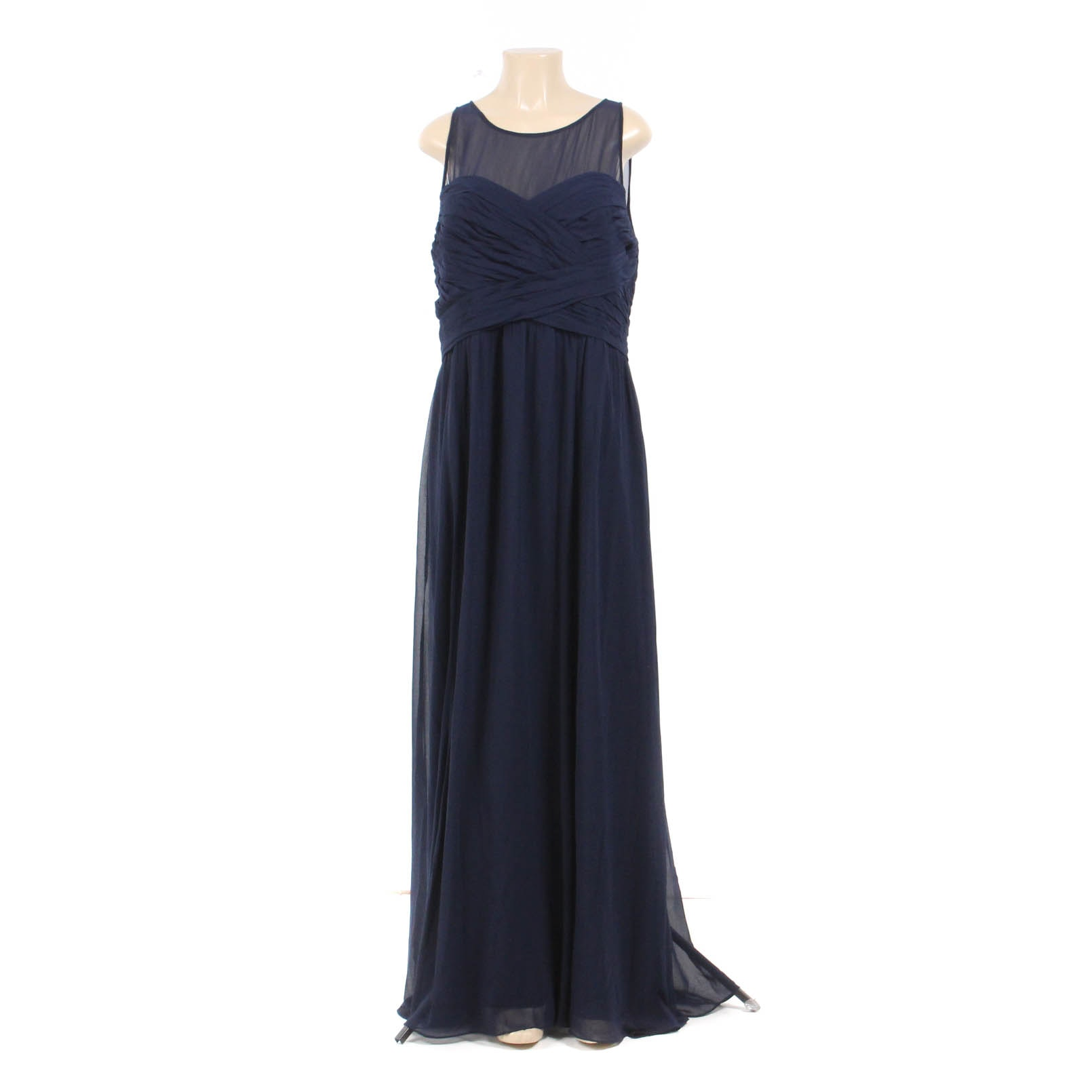 Lauren by Ralph Lauren Navy Chiffon Sleeveless Evening Dress