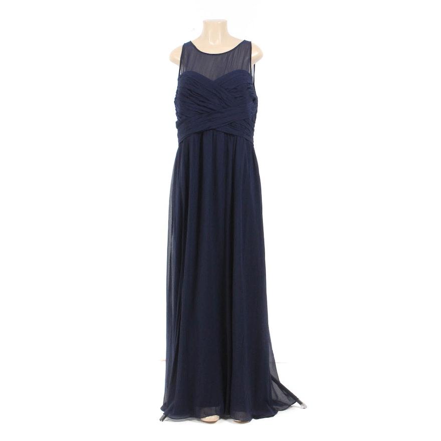 ebbba5051bff Lauren by Ralph Lauren Navy Chiffon Sleeveless Evening Dress   EBTH