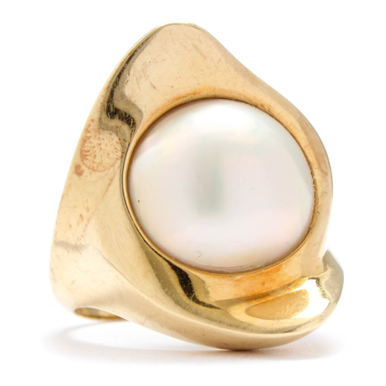 14K Yellow Gold Cultured Mabé Pearl Ring