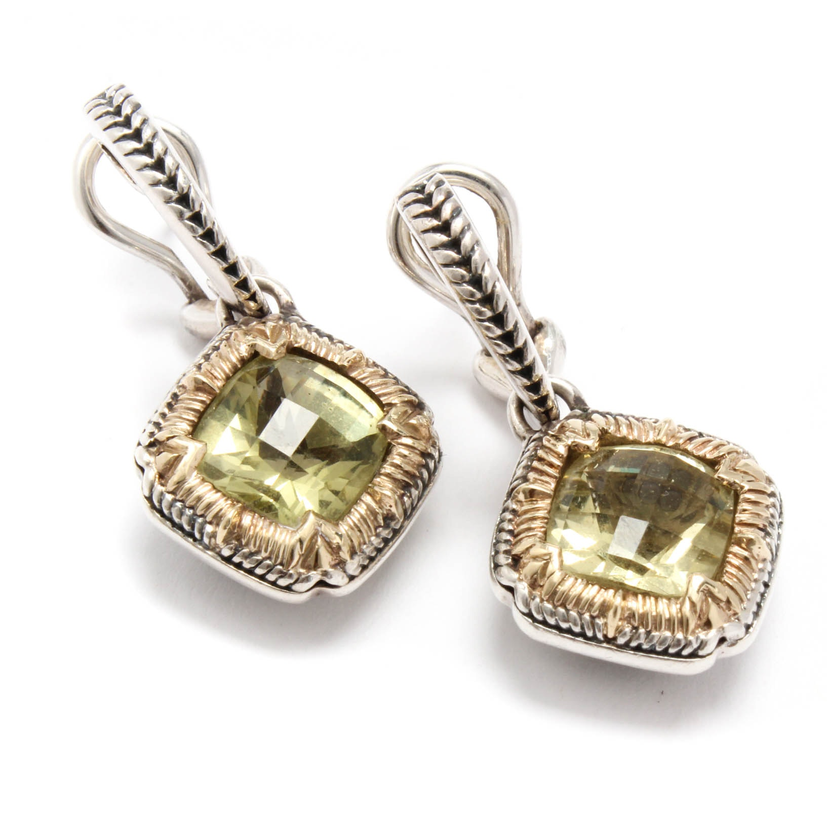 Sterling Silver and 14K Yellow Gold Praseolite Earrings