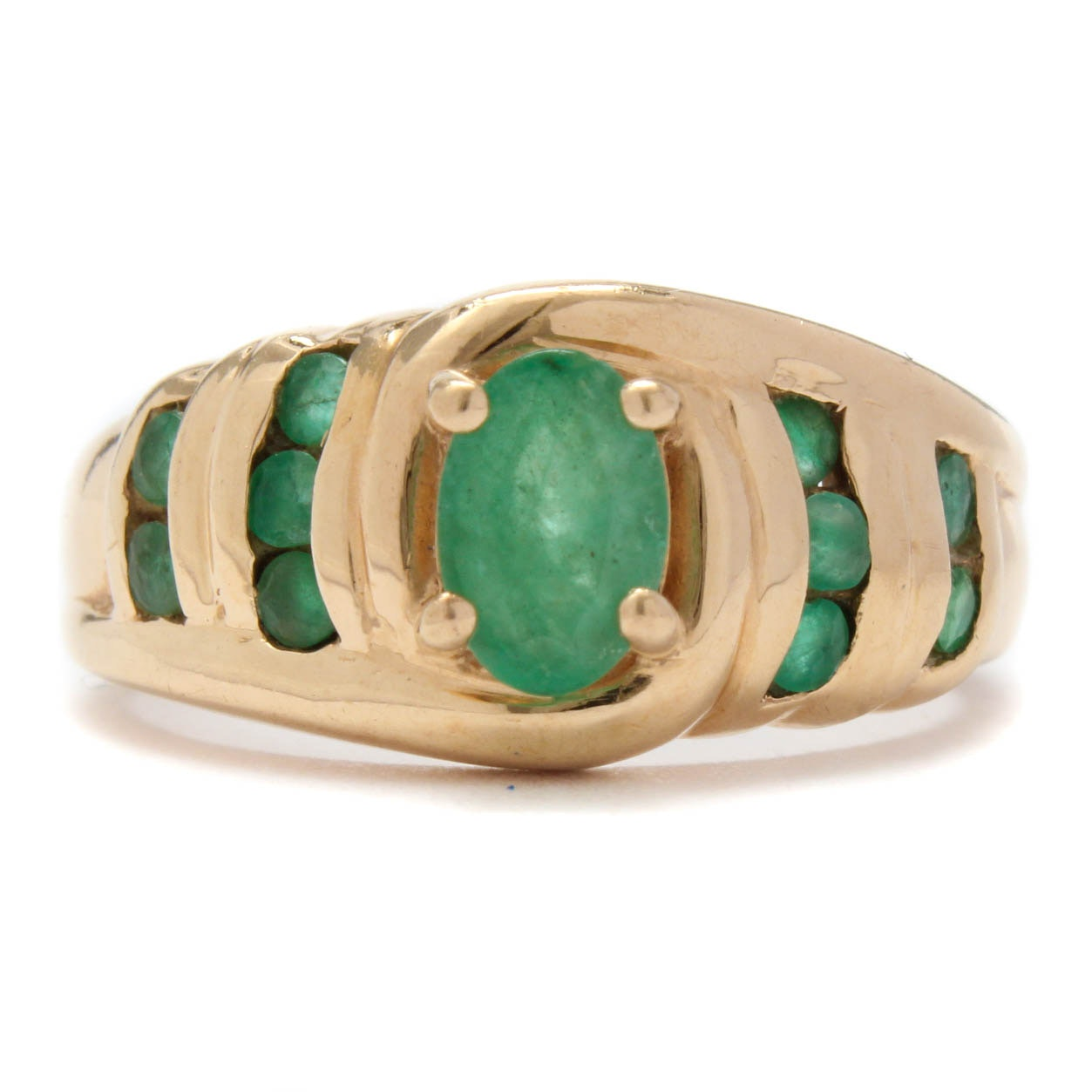 10K Yellow Gold Blue Emerald Ring