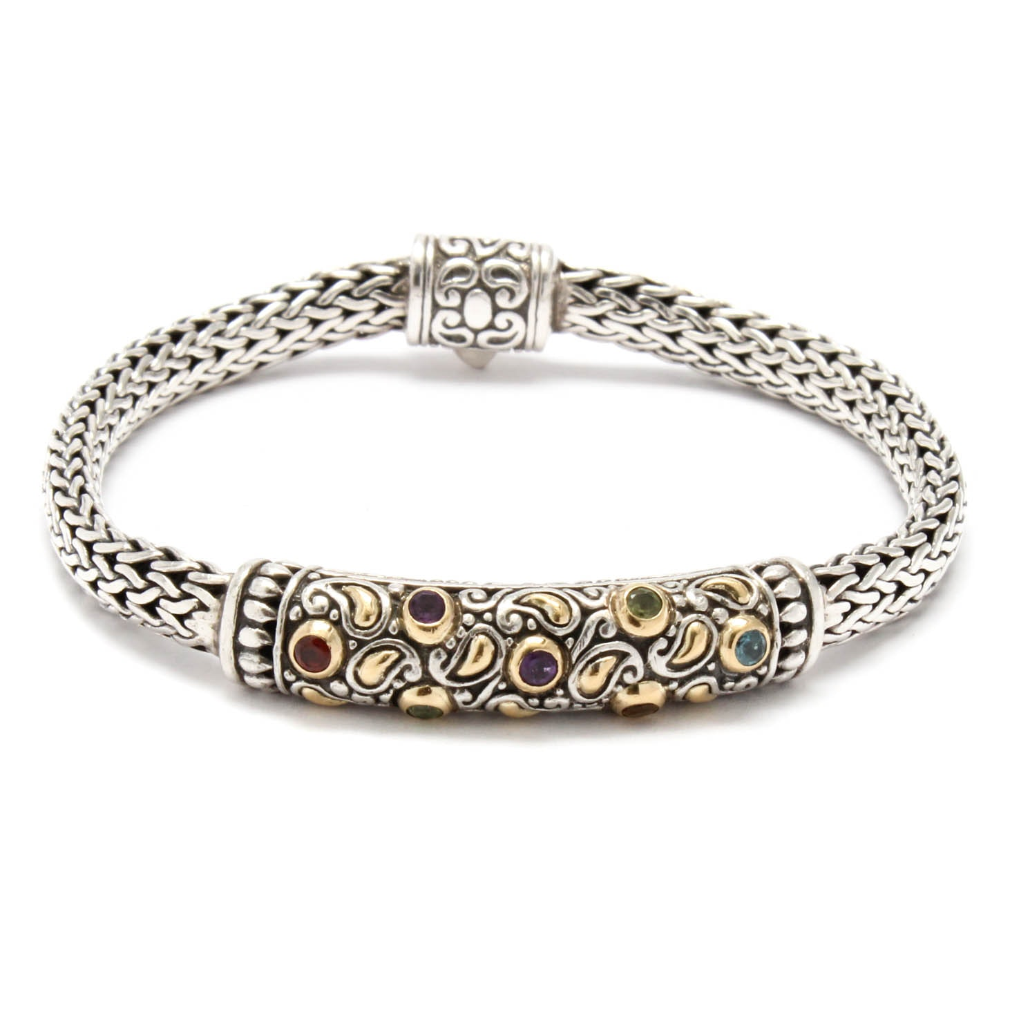 Sterling Silver and 18K Yellow Gold Bracelet with Garnet, Amethyst and More