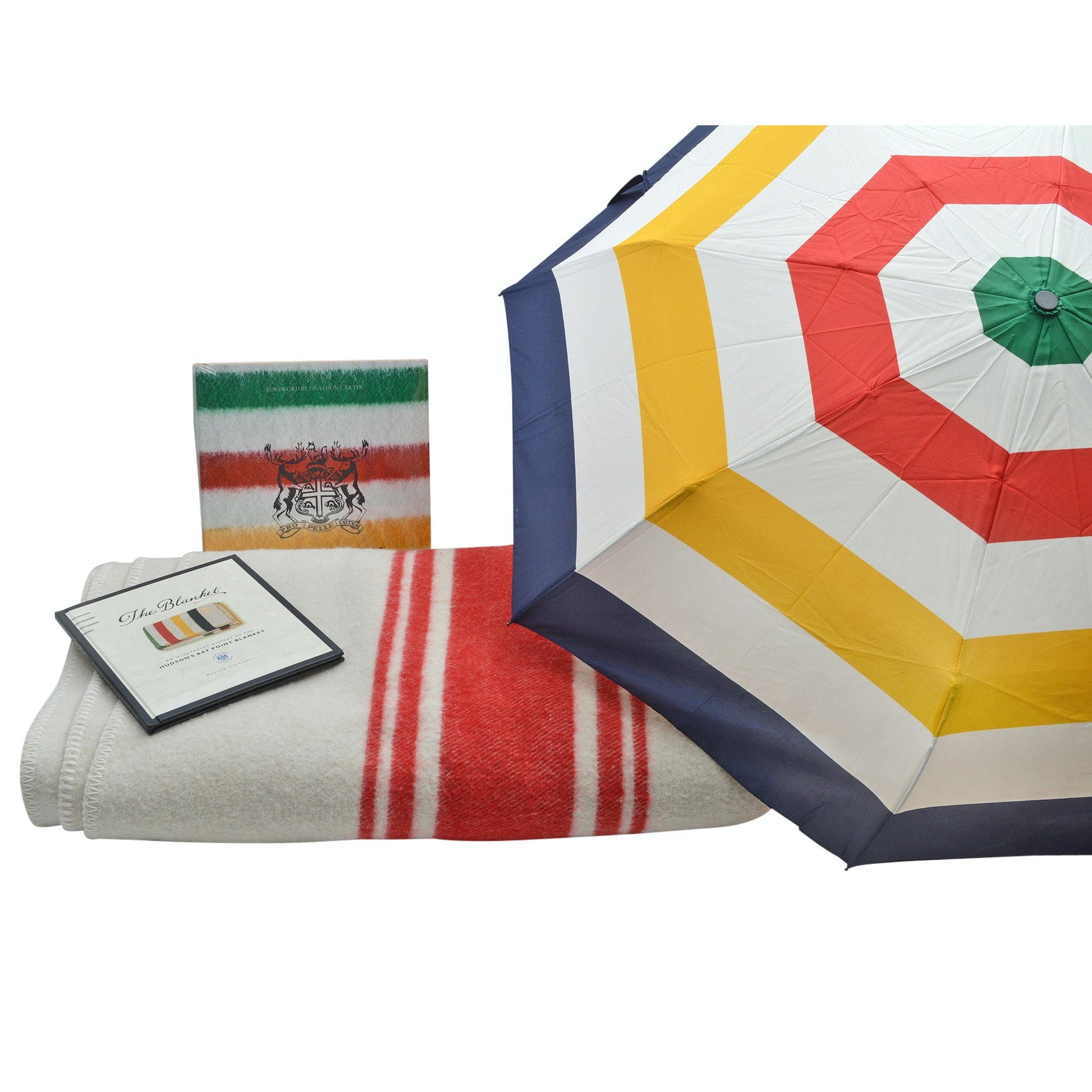 Hudson's Bay Collection with Umbrella, Books and Wool Blanket