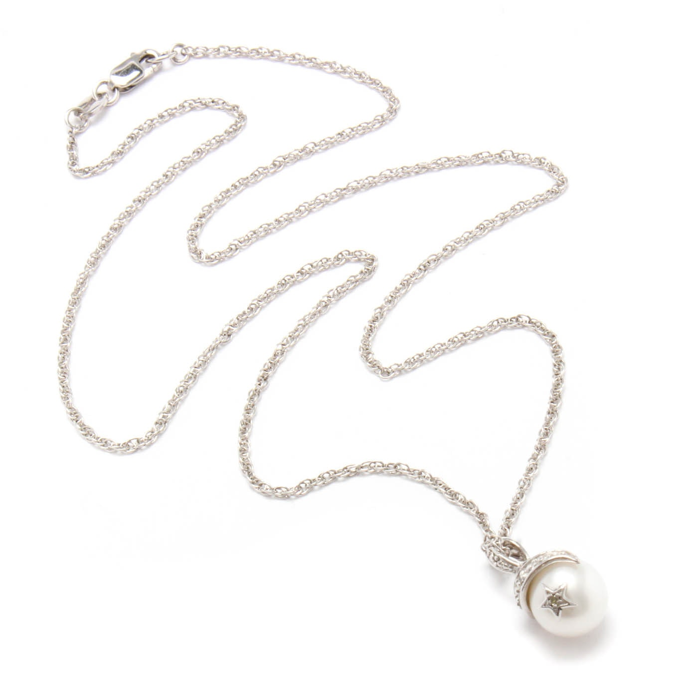 Sterling Silver Cultured Pearl and CUbic Zirconia Pendant Necklace
