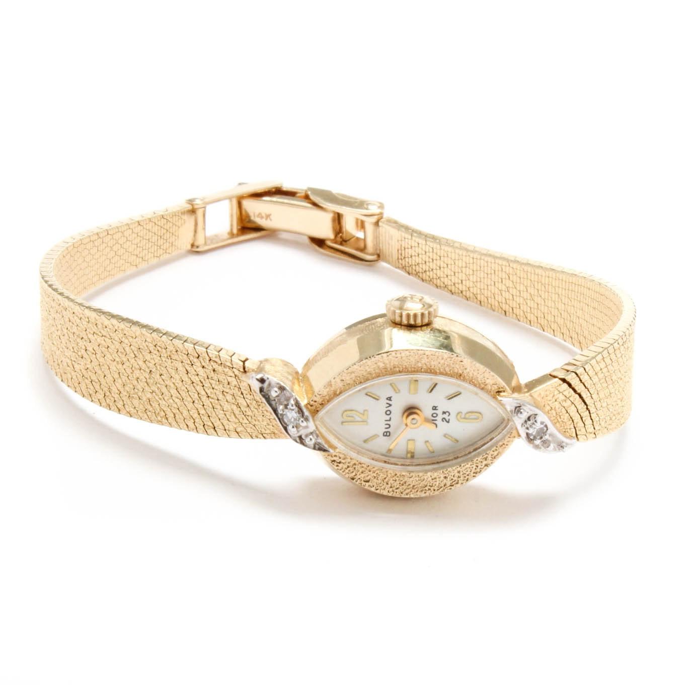Bulova Dior 14K Yellow Gold Diamond Wristwatch