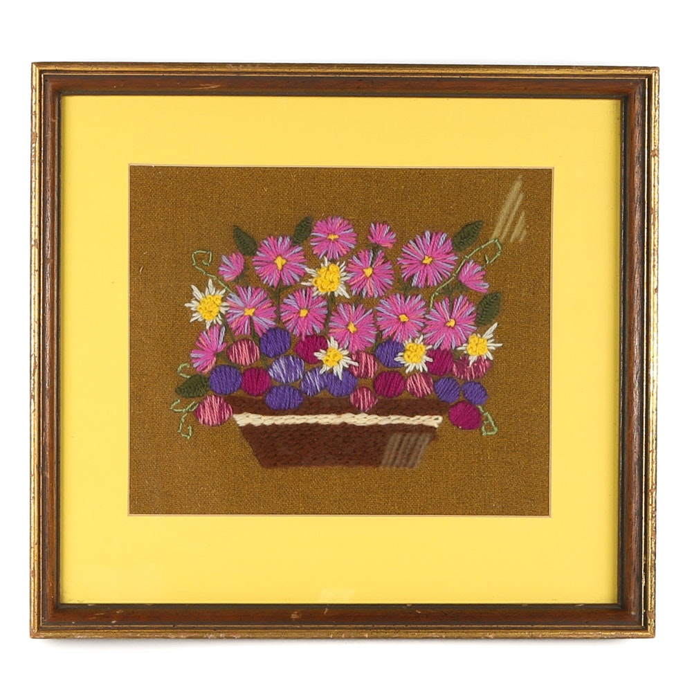 Vintage Framed Crewel Embroidery Botanical