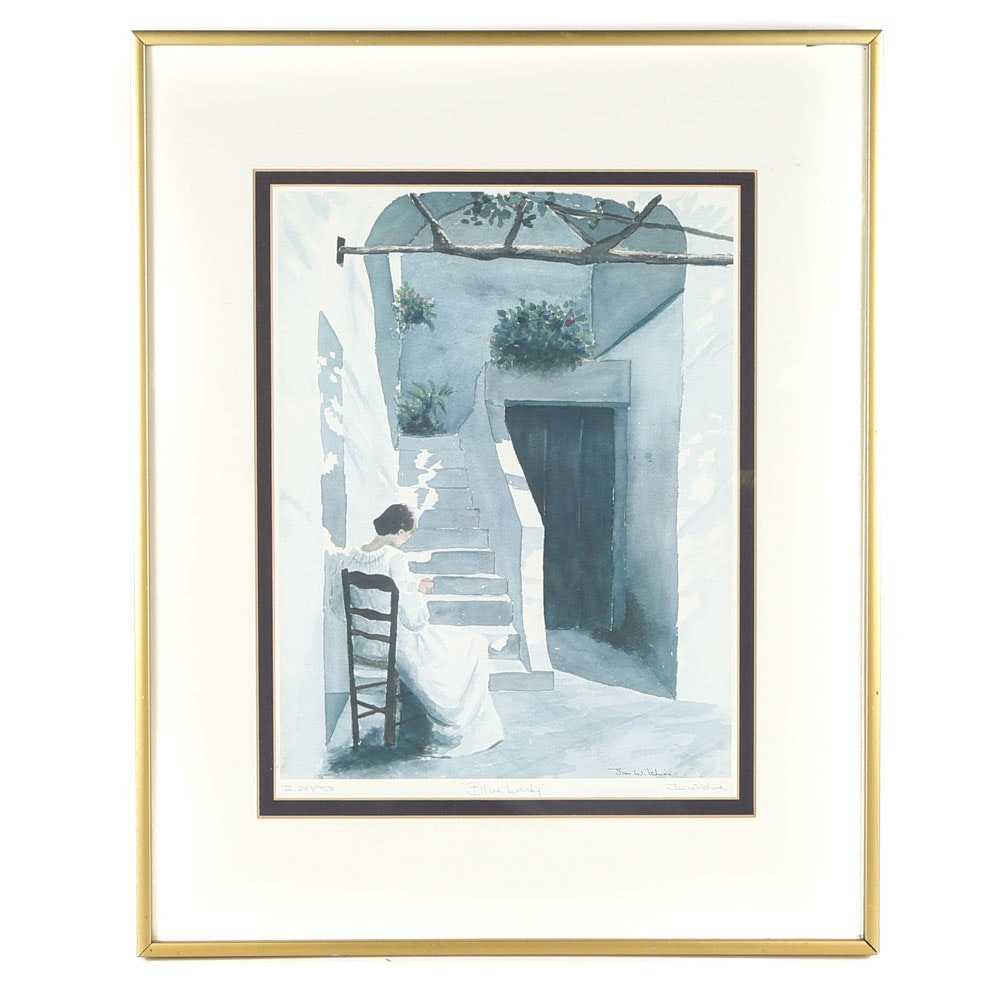 """Jim Wilshire Signed Limited Edition Offset Lithograph """"Blue Lady"""""""