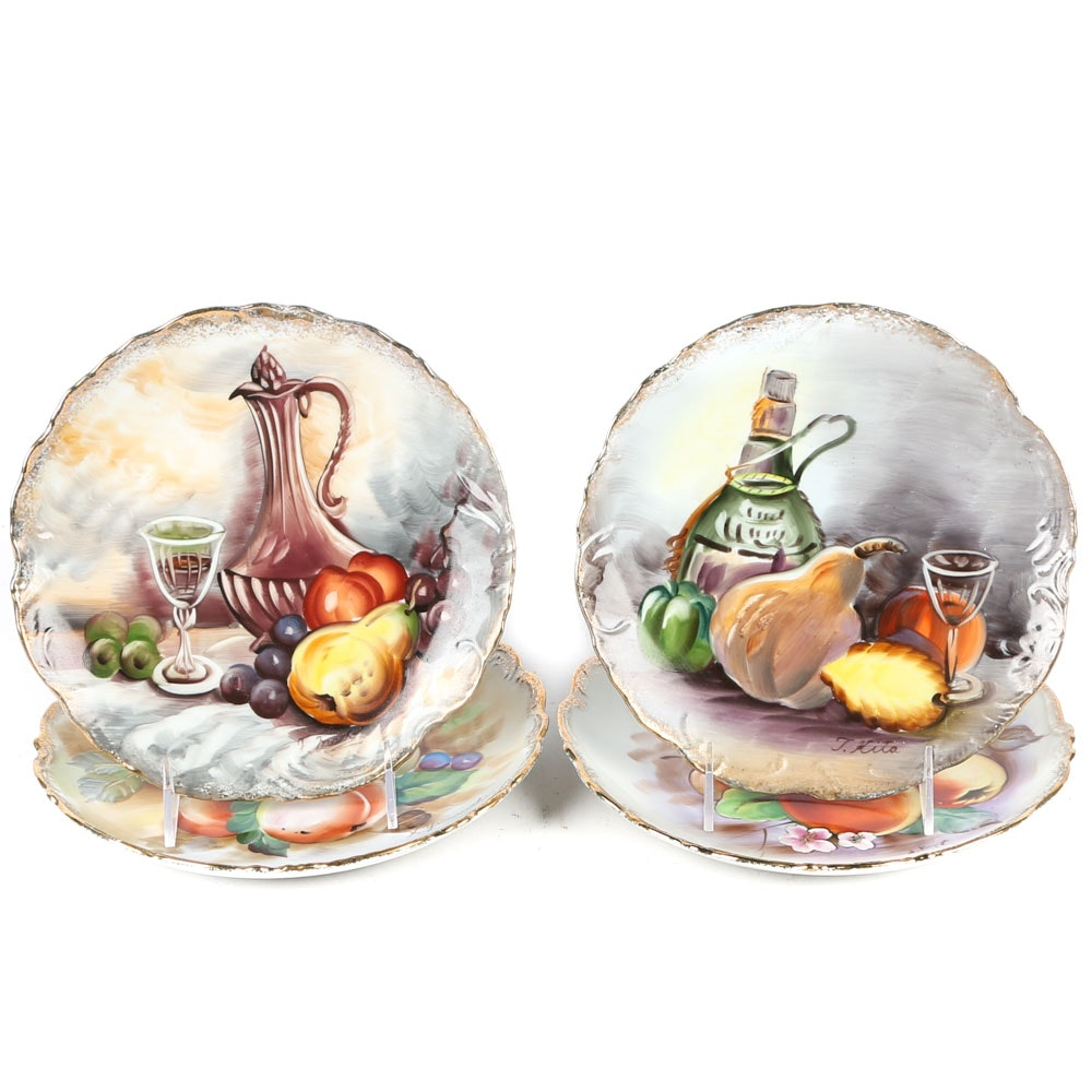 Vintage Signed Hand Painted Wall Plates Featuring Ucagco