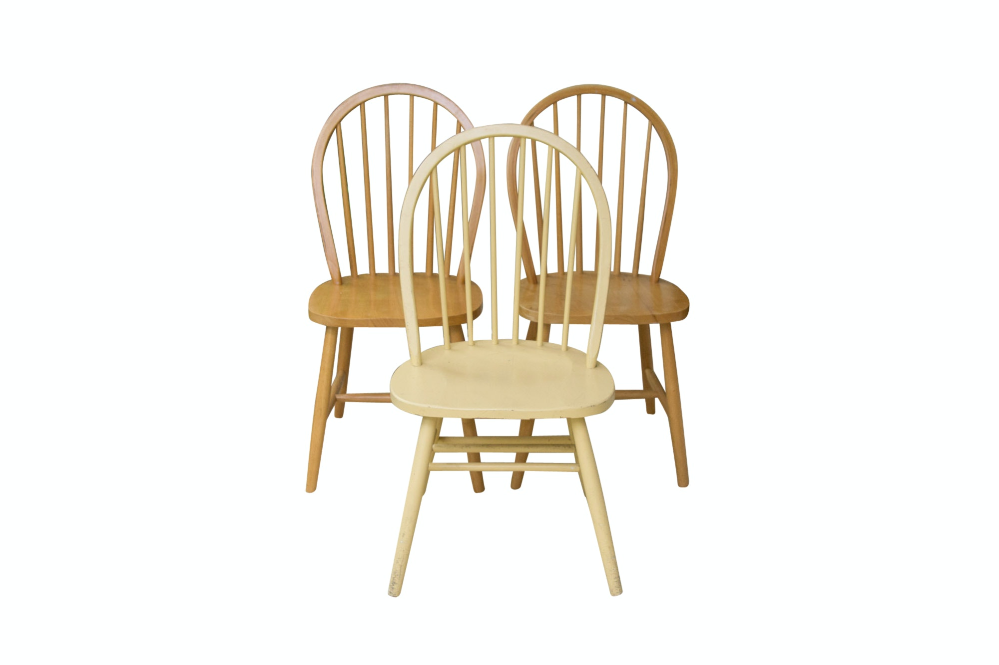 Three Rounded Slatted Back Chairs