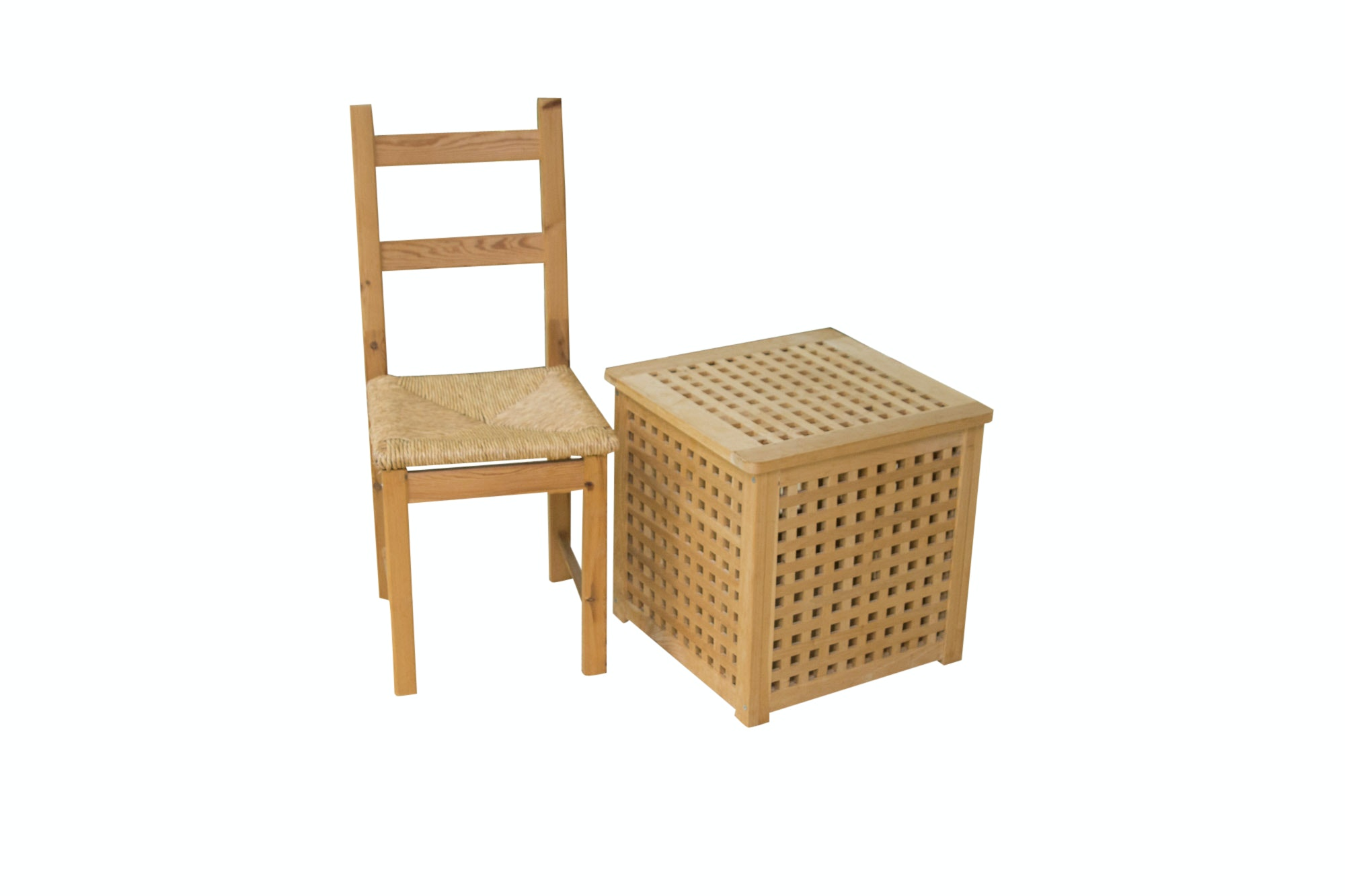 Wicker Chair and Storage Ottoman
