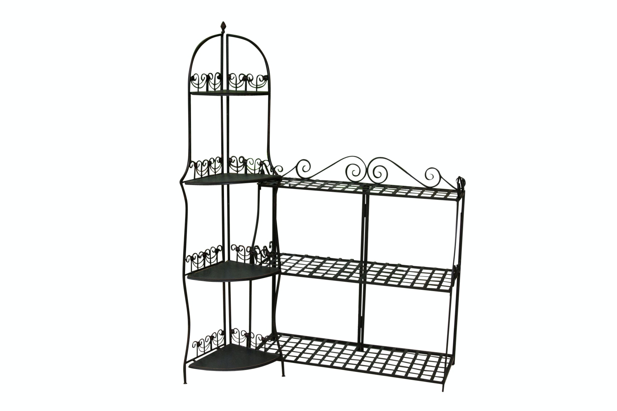 Metal and Wooden Scroll Detailed Plant Stands