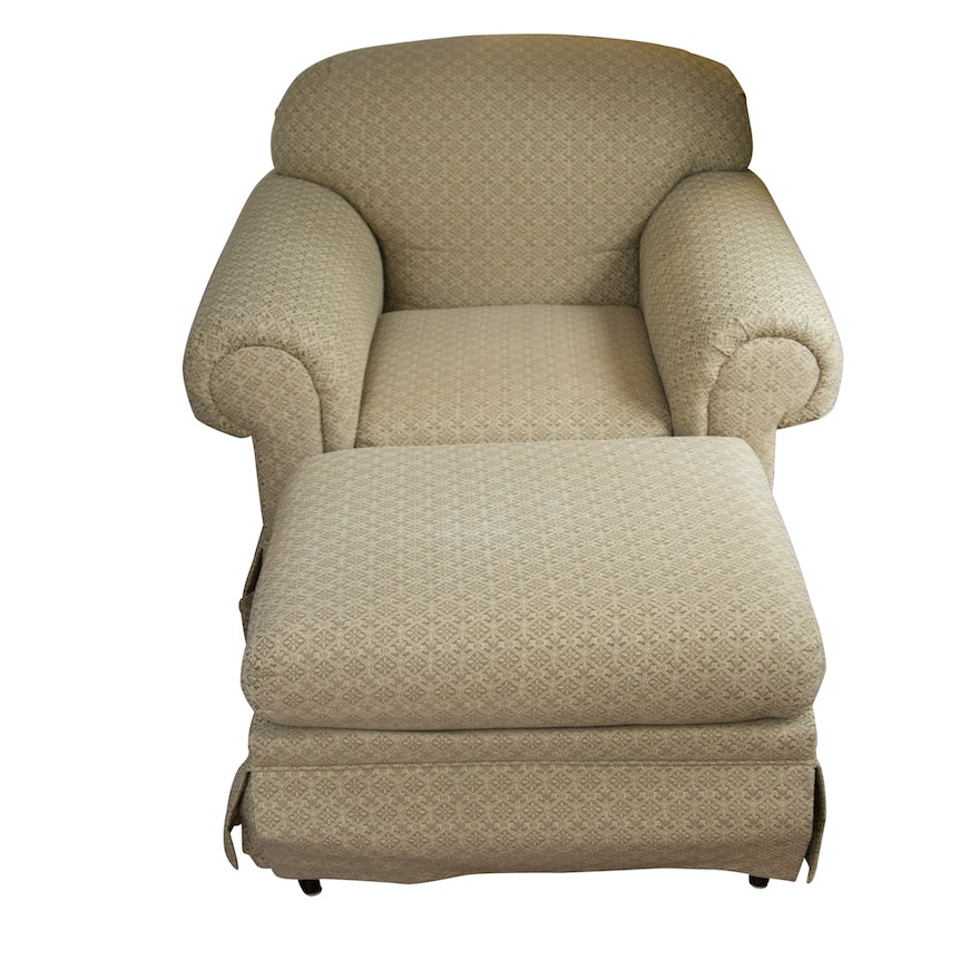Pleasant Rowe Furniture Upholstered Armchair And Ottoman Caraccident5 Cool Chair Designs And Ideas Caraccident5Info