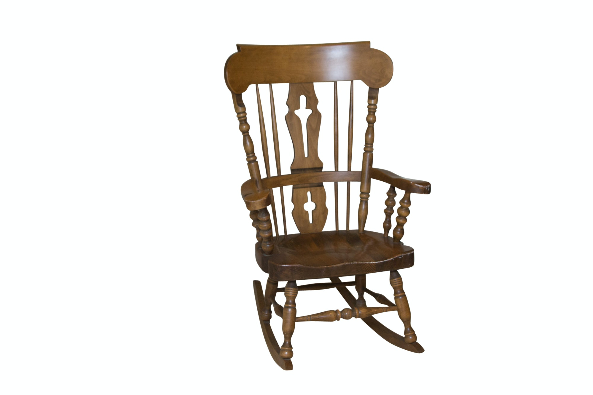Wooden Fiddle Back Rocking Chair