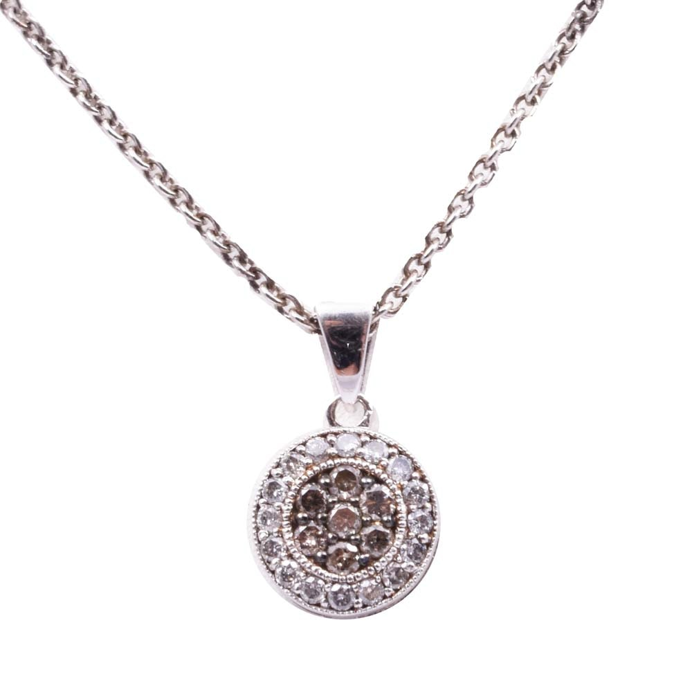 Italian Sterling Silver Diamond Circle Pendant Necklace