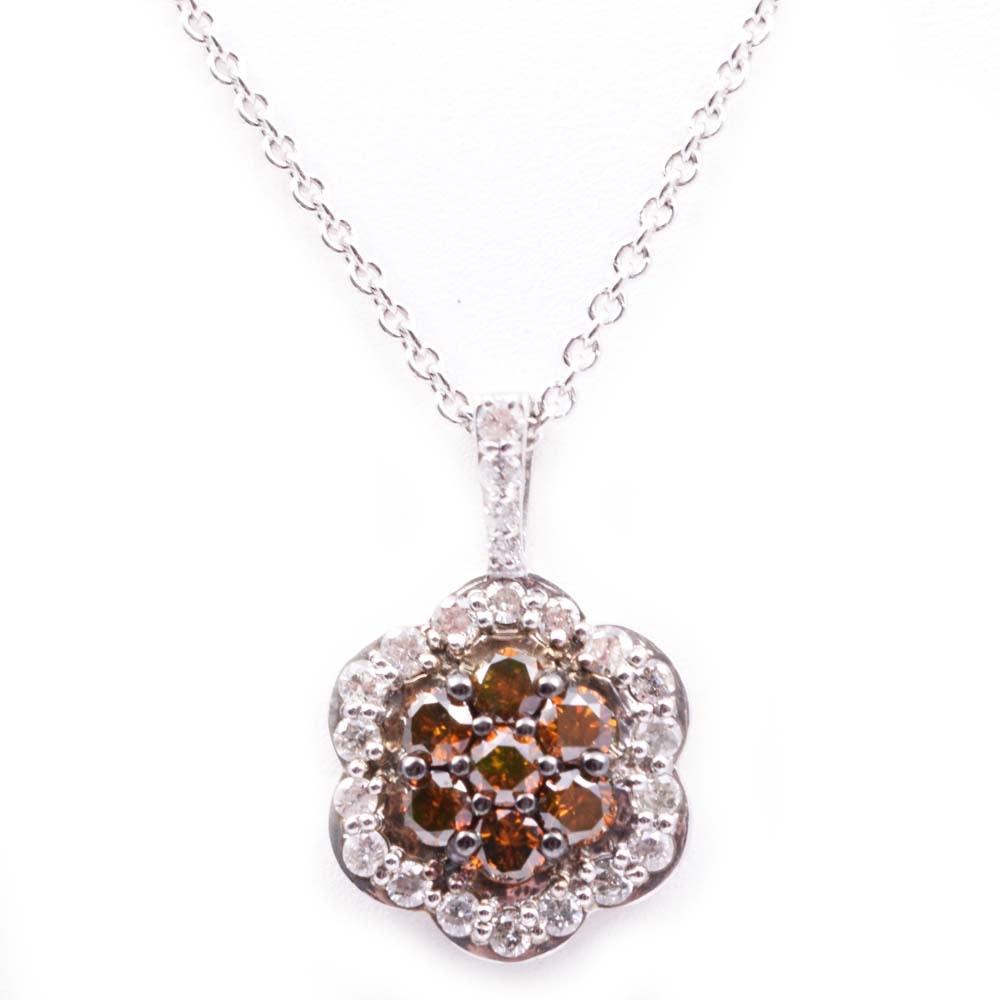 Italian Sterling Silver, 1.12 CTW Diamond and Brown Diamond Pendant Necklace