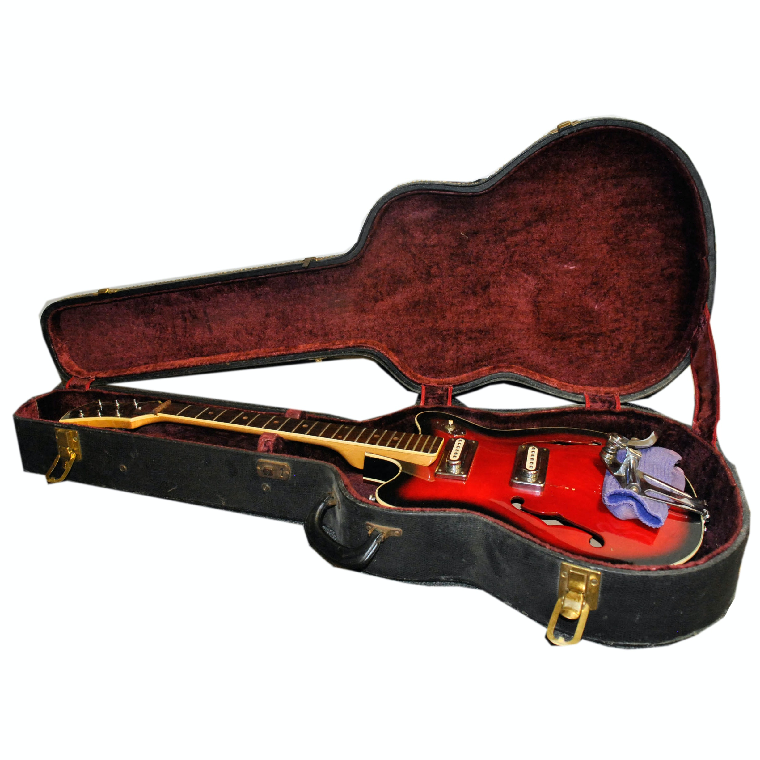 Vintage Redburst Hollow Body Electric Guitar and Case