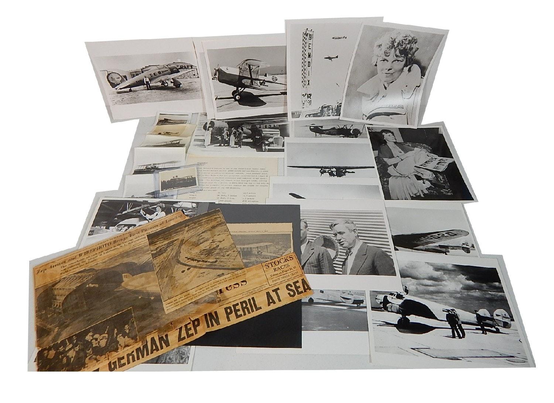 Aeronautic Collectible Photographs and Ephemera wit Earhart, Lindbergh, Zeppelin