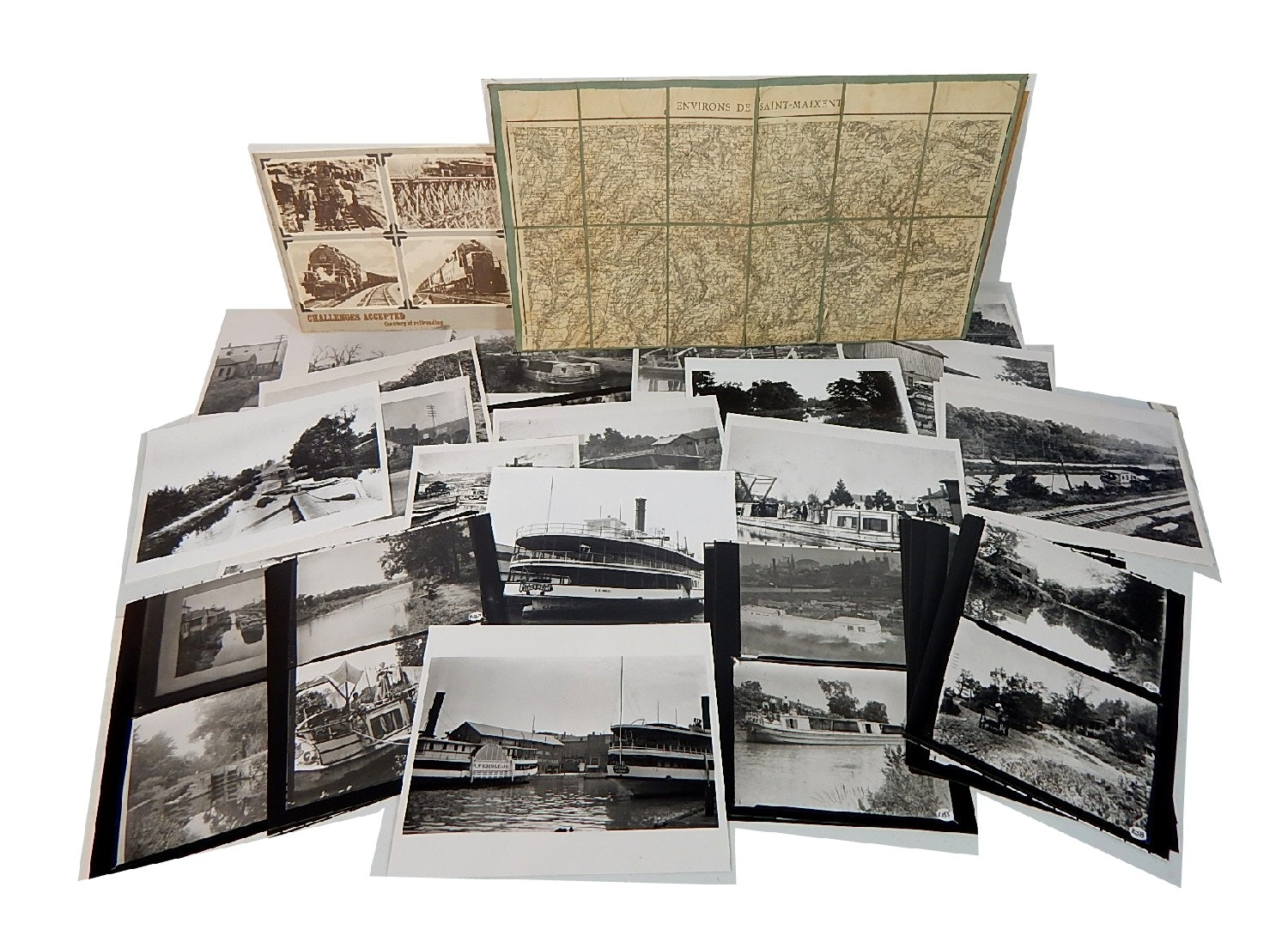 Vintage Reproduction Canal Photographs and Map