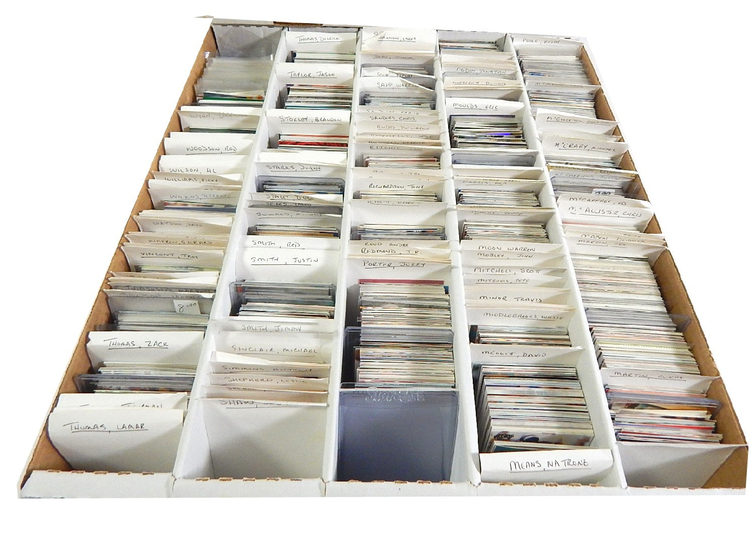 5000 Count Box of AFC Football Players Cards from 1990s -Several 1000 Card Count