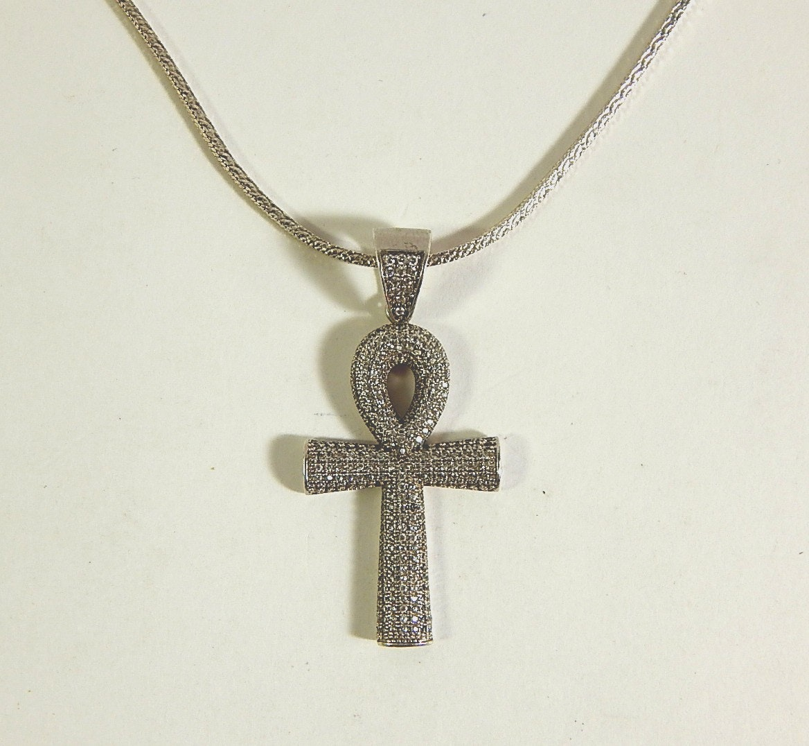 Sterling Silver Ankh Cross Pendant with Rhinestones and Chain Necklace