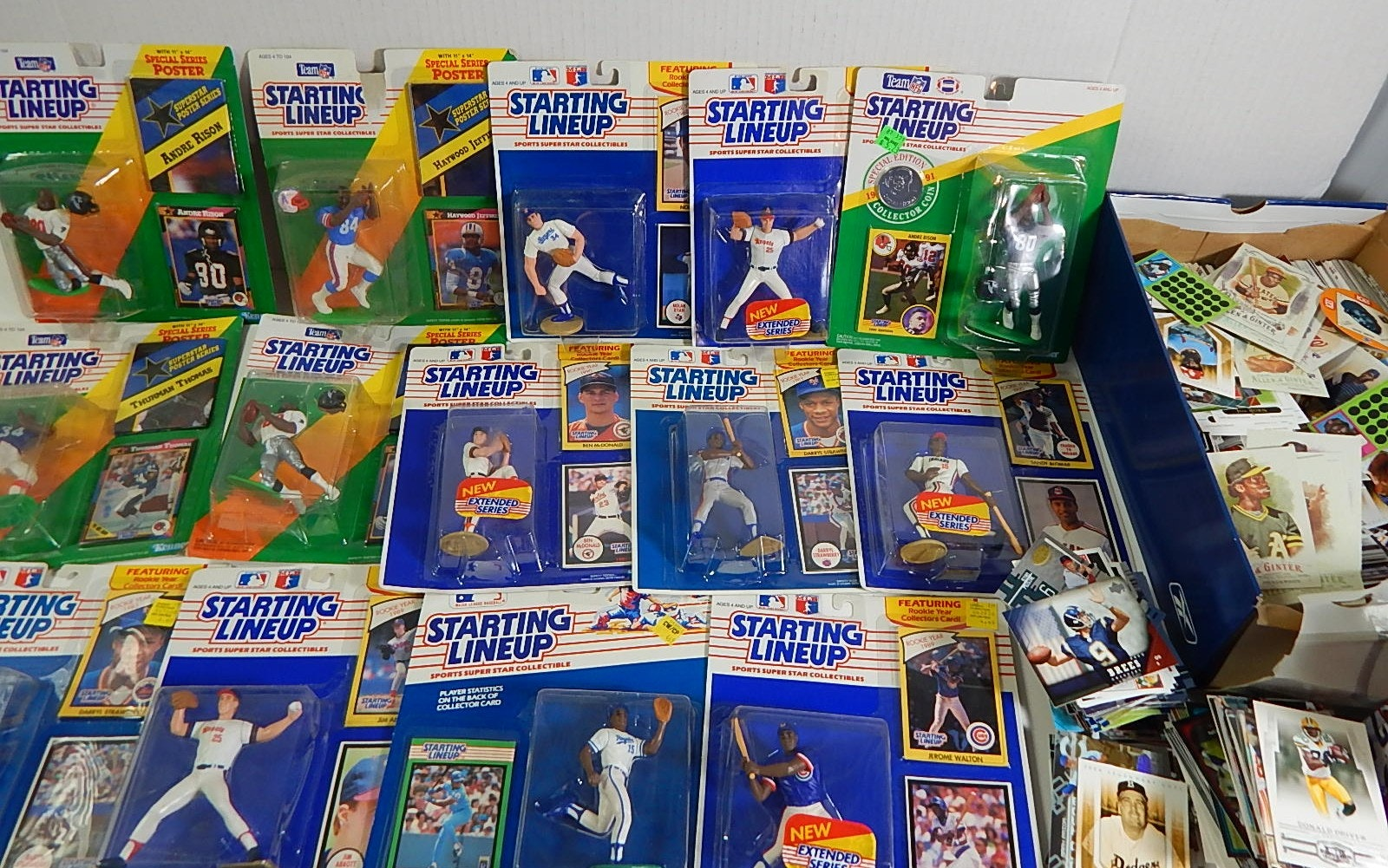 Large Collection of Baseball and Football Starting Lineup Figures and 1000 Cards