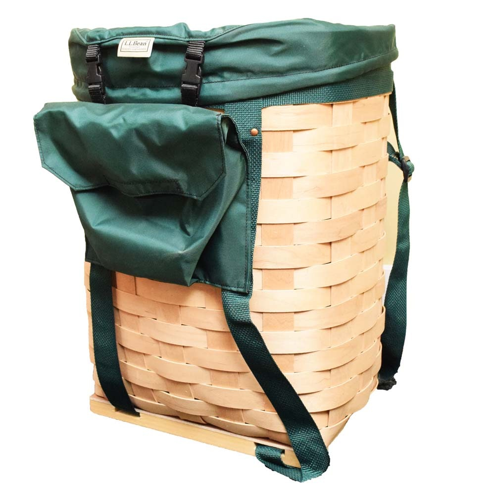 L.L. Bean Handwoven Maple Alagash Ice Fishing Pack Basket