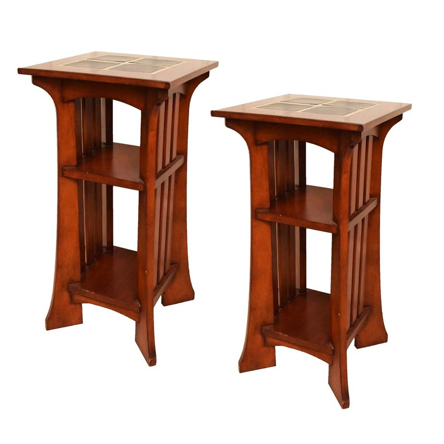Pee Tile Top Teak Mission Style Accent Tables