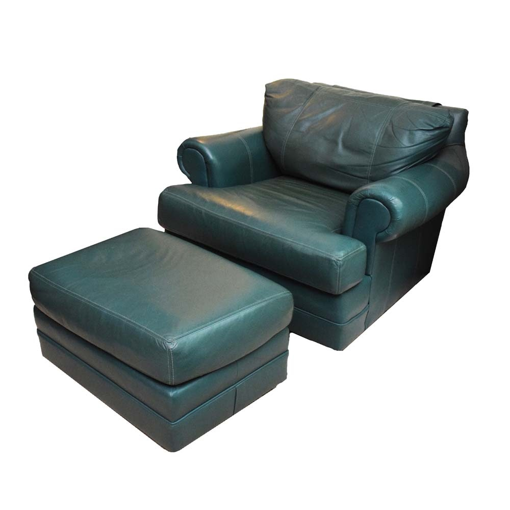 Huntington House Green Leather Armchair and Ottoman