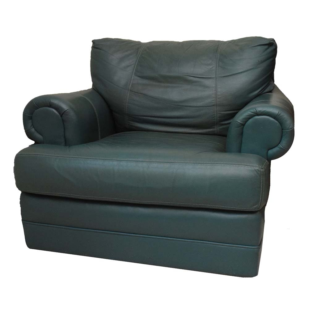 Huntington House Green Leather Armchair