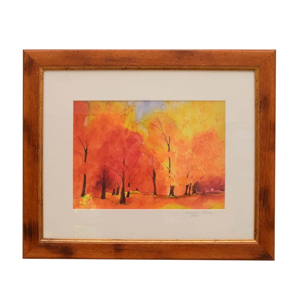 Barbara Easley Ltd. Edition Lithograph on Paper of a Fall Landscape