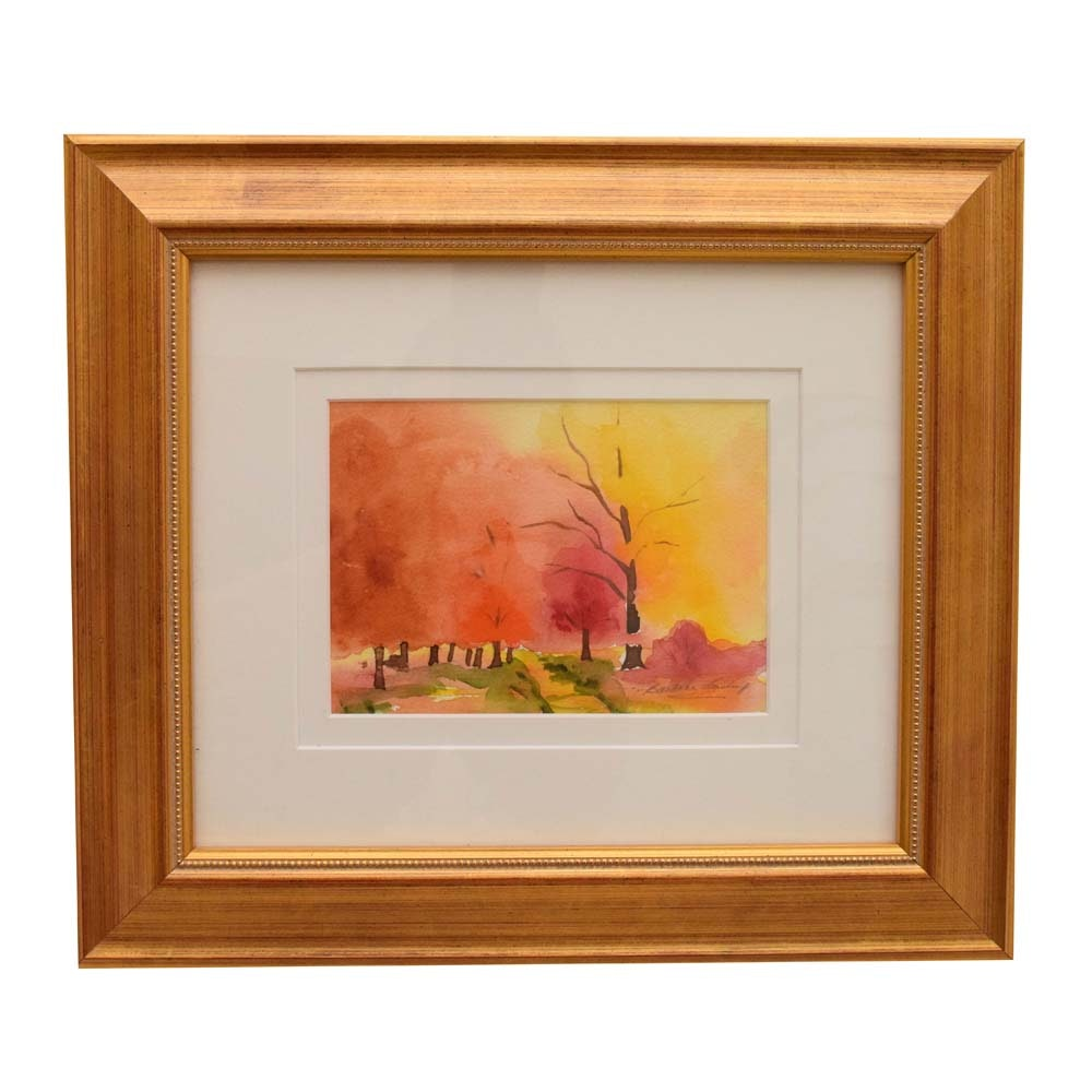 Barbara Easley Watercolor on Paper of an Abstract Landscape