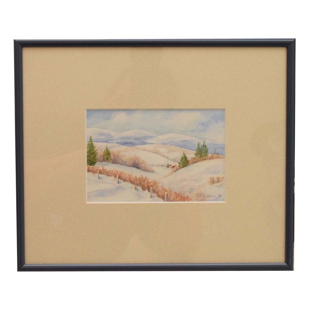 Pat Lawson Watercolor on Paper Painting of a Winter Scene