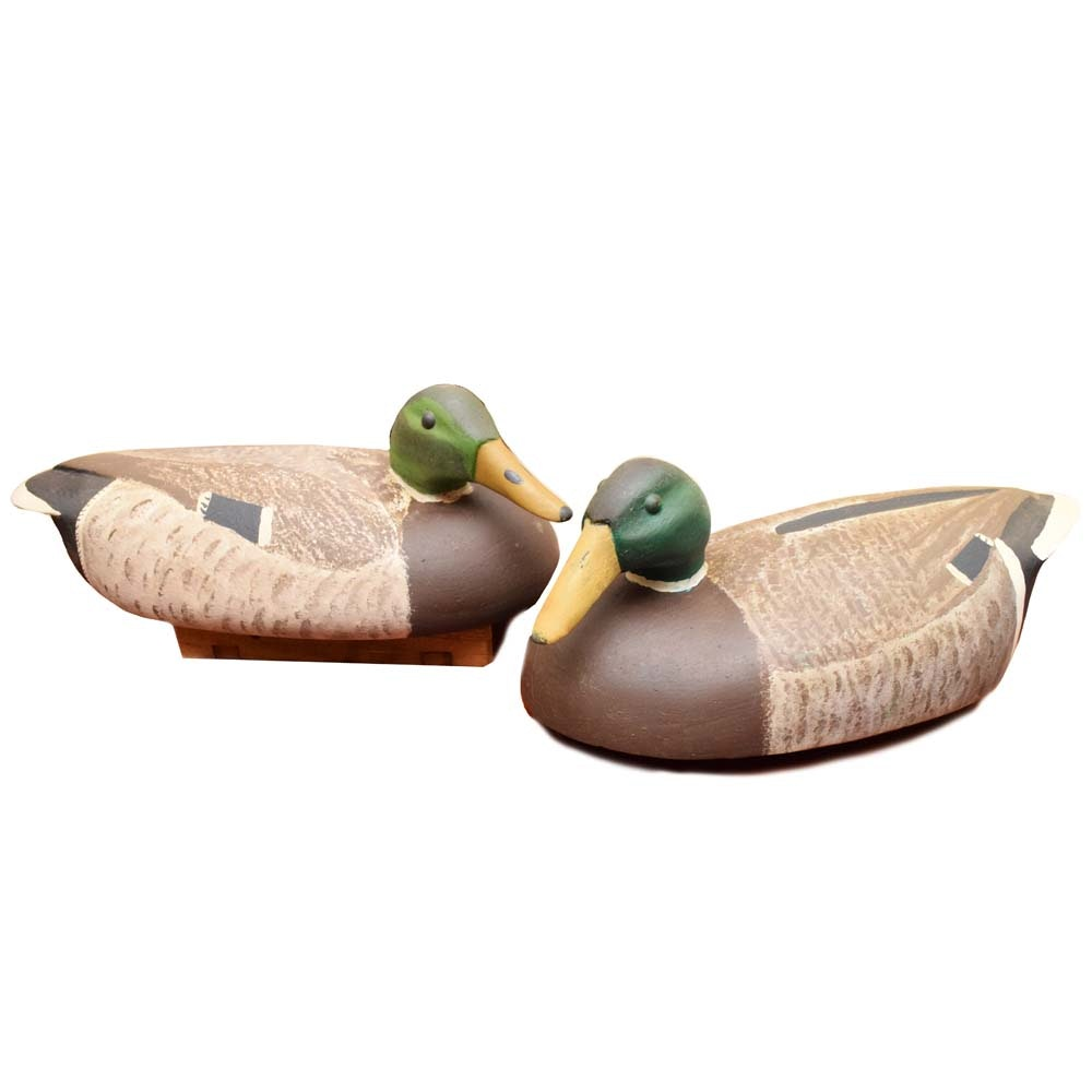 Vintage Hand-Carved Wooden Mallard Duck Decoys