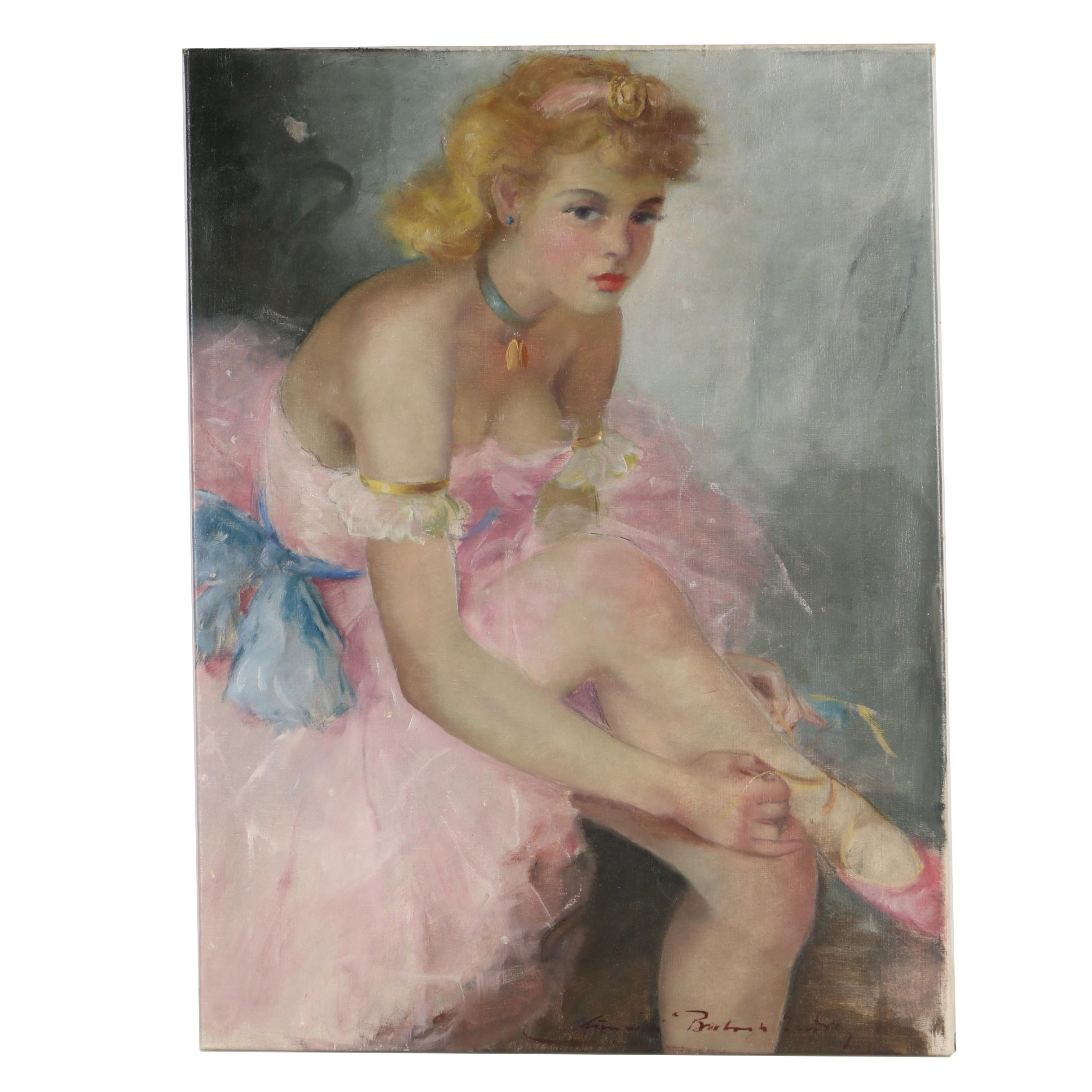 Mid 20th Century Oil Painting of a Ballerina