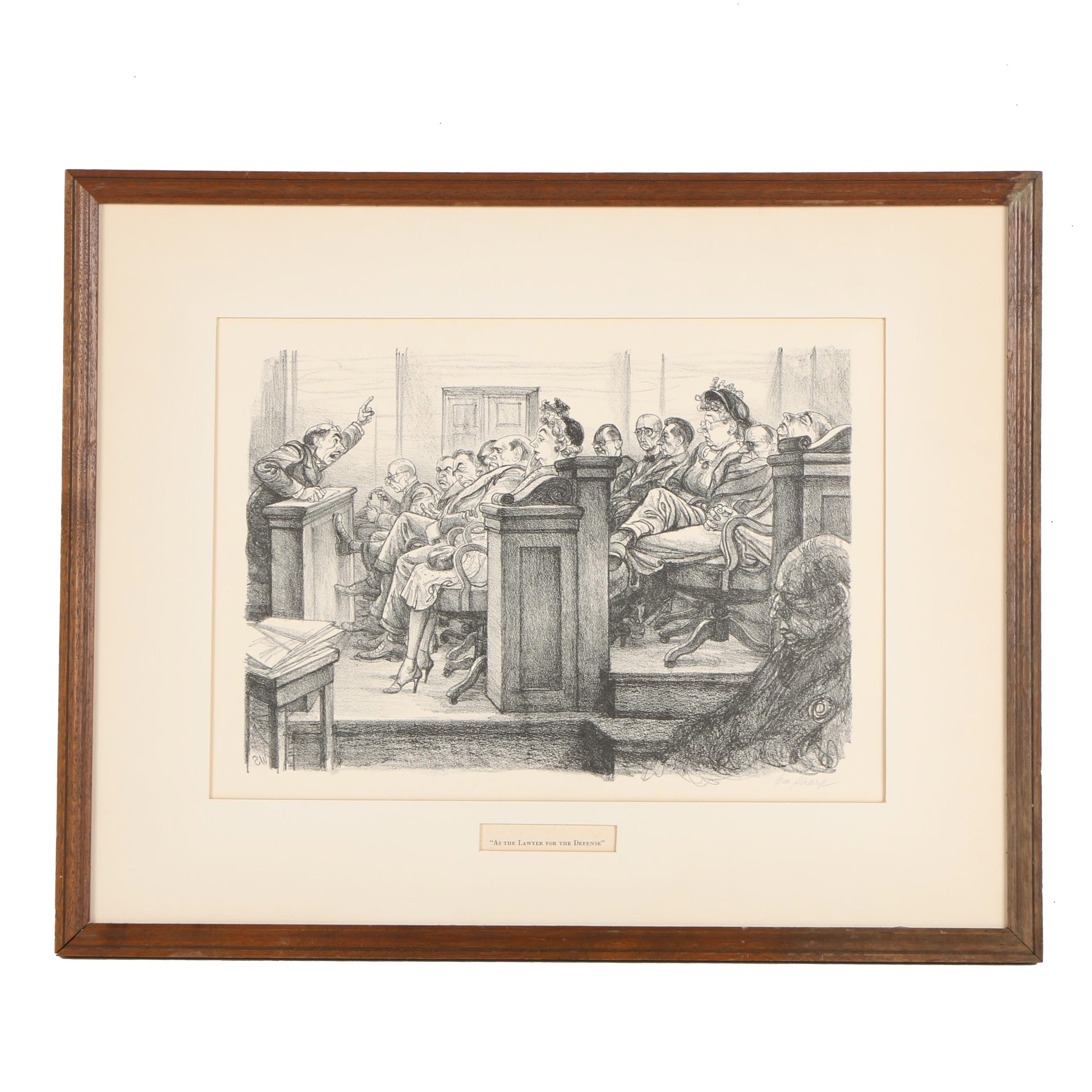 """William Sharp Lithograph """"As the Lawyer for the Defense"""""""