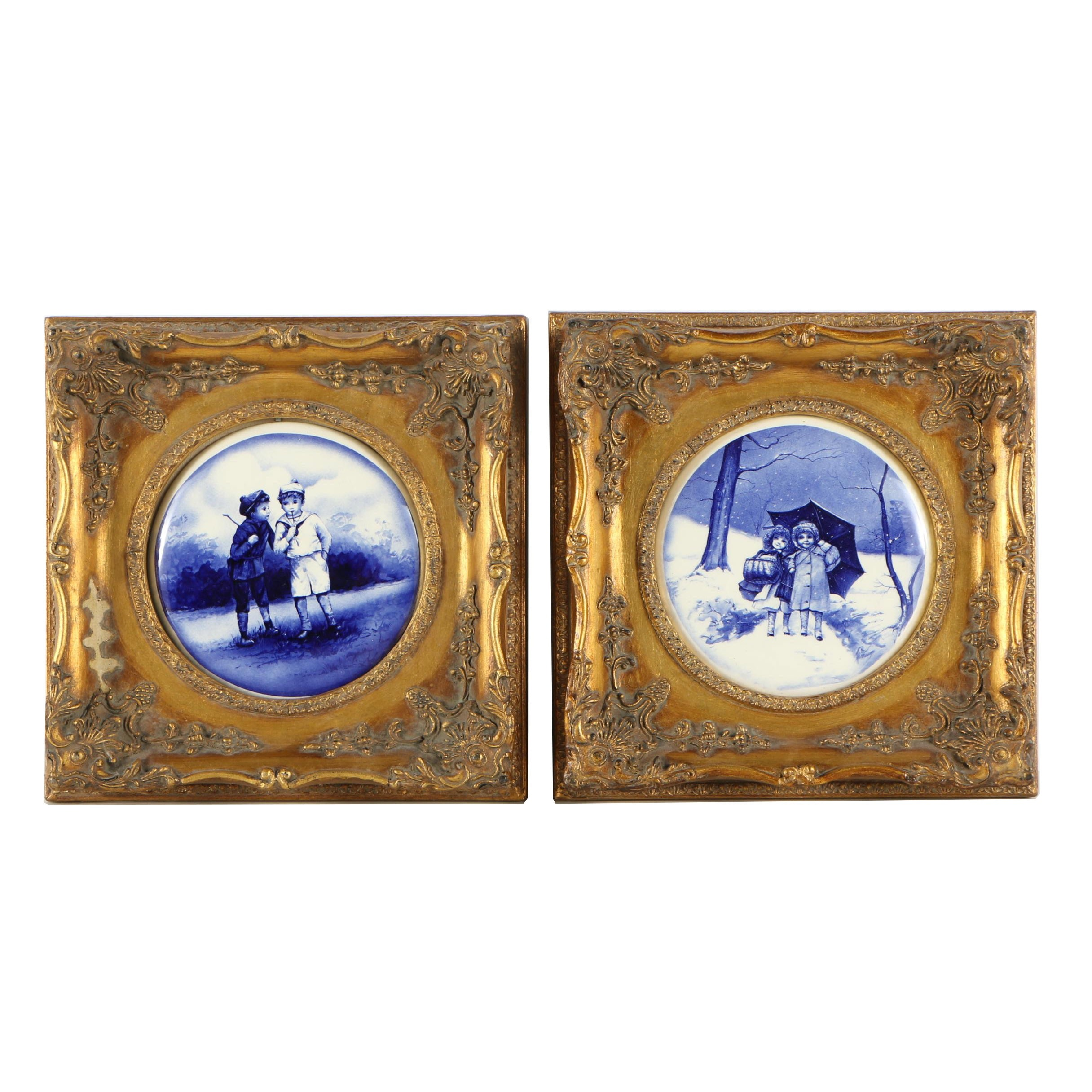 Printed Porcelain Medallions in Rococo Style Frames