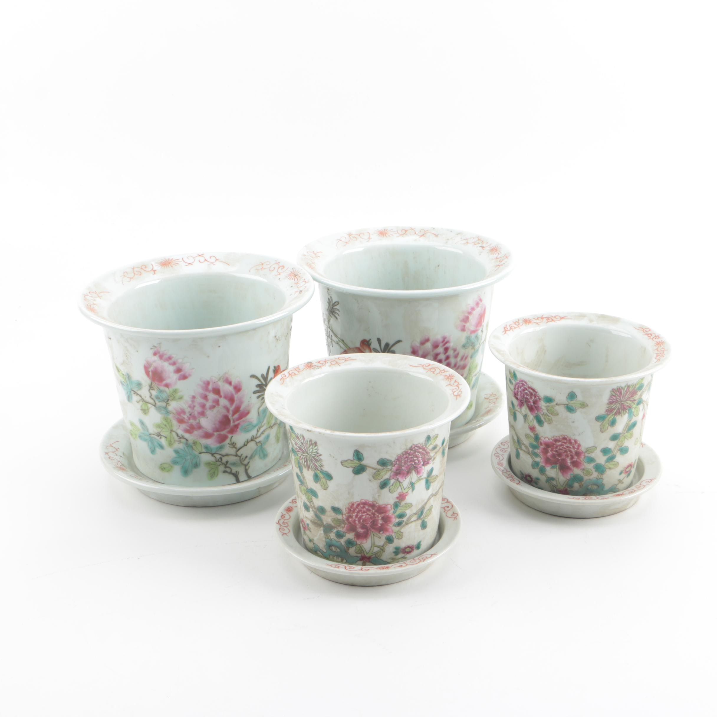 Chinese Republic Period Hand-Painted Floral Themed Porcelain Planters with Trays